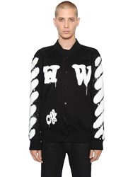 Off White Spray Stripes Cotton Canvas Bomber