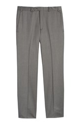 John W. Nordstrom Torino Flat Front Wool Gabardine Trousers Light Grey