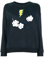 Chinti And Parker Embroidered Long Sleeve Sweater Blue