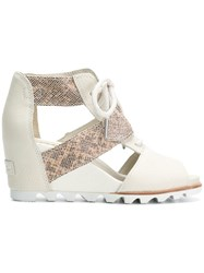 Sorel Wedge Lace Up Sandals Nude And Neutrals