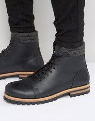 Asos Lace Up Boots In Black Leather With Cleated Heavy Sole Black