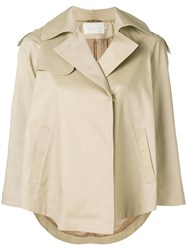 L'autre Chose Short Flared Trench Nude And Neutrals