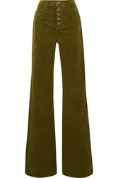 Veronica Beard Beverly Stretch Cotton Corduroy Flared Pants Army Green