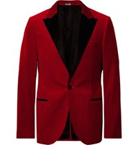 Lanvin Claret Slim Fit Satin Trimmed Cotton Velvet Tuxedo Jacket Red