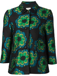 Suno Embroidered Flower Jacket Black