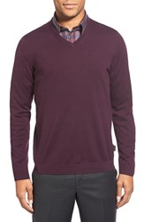 Men's Ted Baker London 'Batatak' Slim Fit Merino Wool V Neck Sweater Deep Purple