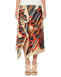 Carven Asymmetric Printed Silk Satin Midi Skirt Multi Pattern