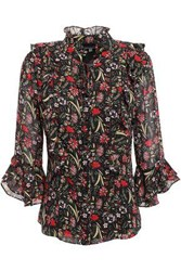 Mikael Aghal Woman Ruffled Floral Print Georgette Blouse Black