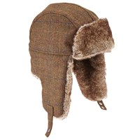 John Lewis Large Check Trapper Hat Brown