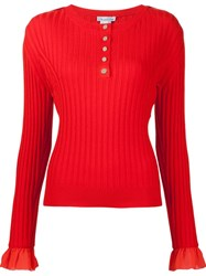 Oscar De La Renta Sleeve Detail Ribbed Jumper Red