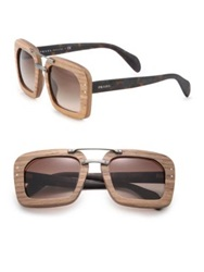 Prada Wooden 51Mm Square Sunglasses Light Wood