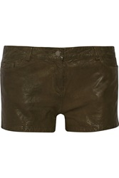 Haute Hippie Leather Shorts Green