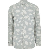 Jack And Jones River Island Mens Grey Premium Leaf Print Shirt
