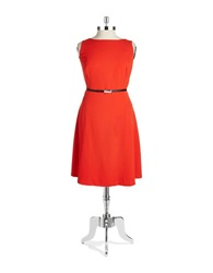 Jones New York Plus Plus Belted Fit And Flare Dress Red Coral