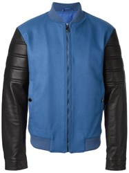 Versace Collection Contrasted Sleeve Bomber Jacket Blue