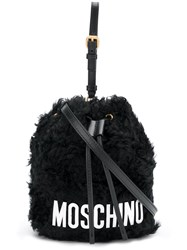 Moschino Furry Satchel Bag Black