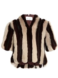 Raey Striped Short Shearling Coat Burgundy Stripe