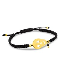 Tous Skull And Onyx Charm Woven Cord Bracelet Black And Gold