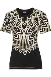 Just Cavalli Printed Stretch Jersey T Shirt Black
