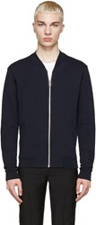 Maison Martin Margiela Navy Leather Patch Zip Up Sweater