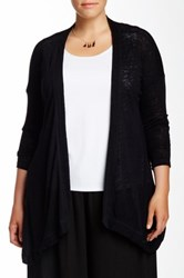 Bobeau Slub Knit Cardigan Plus Size Black