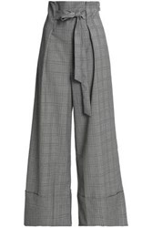 Paper London Belted Prince Of Wales Checked Wool Blend Wide Leg Pants Gray