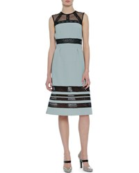 Bottega Veneta Sleeveless Mesh Lace A Line Dress Blue