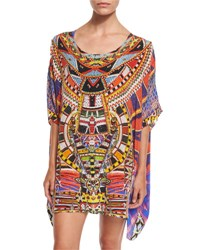 Camilla Printed Embellished Short Caftan Coverup Rainbow Warrior
