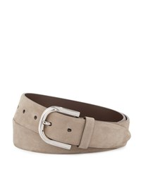 Brunello Cucinelli Calf Suede Buckle Belt Taupe