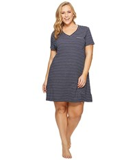 Nautica Plus Size Striped Sleepshirt Navy Stripe Women's Pajama