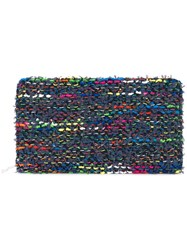 Coohem Knit Tweed Large Wallet Calf Leather Polyester Cotton Rayon Blue
