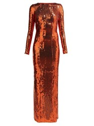 Galvan Adela Sequinned Gown Bronze