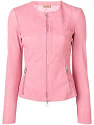 Drome Fitted Leather Jacket Pink