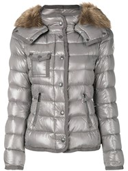 Moncler Hooded Padded Jacket Women Feather Down Polyamide Racoon Fur 0 Grey