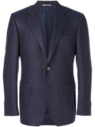 Canali Textured Fitted Blazer Men Cupro Wool 56 Blue