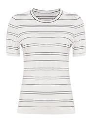 Hugo Boss Filali Nautical Stripe Knit Top White