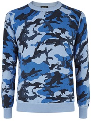 Wolsey Printed Camo Crew Neck Pull Over Jumper Blue