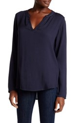 Allen Allen Split Neck Blouse Gray