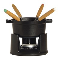 Staub Mini Fondue Set With 4 Forks Black