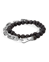 John Hardy Sterling Silver Classic Chain Wrap Bracelet With Volcanic Rock Black Silver