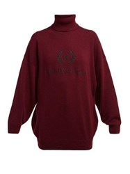 Balenciaga Logo Embroidered Roll Neck Wool Blend Sweater Burgundy Multi