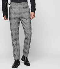 Reiss Bragg T Check Pattern Trousers In Grey