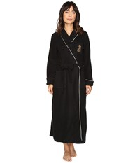 Lauren Ralph Lauren Folded Dalton Fleece Long Robe Black Women's Robe