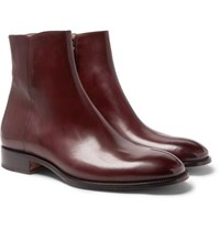 Brioni Burnished Leather Boots Burgundy