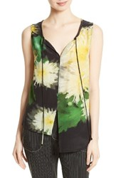 Tracy Reese Women's High Low Shirt Yellow Floral