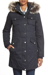 Women's Bcbgeneration Twill Parka With Faux Fur Trim Navy