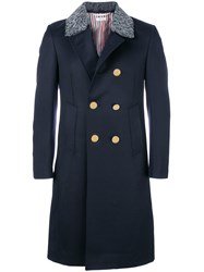 Thom Browne Fur Top Pintuck Cavalry Twill Chesterfield Overcoat Blue