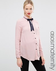 Asos Maternity Blouse With Neck Tie And Embroidered Collar Blush Pink