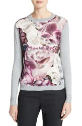 Ted Baker Women's London Illuminated Bloom Woven Front Sweater