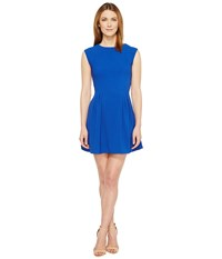 Brigitte Bailey Delaney Cap Sleeve Pleated Dress Royal Women's Dress Navy